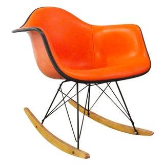 Vintage Orange Eames Shell Rocker - All Original For Sale