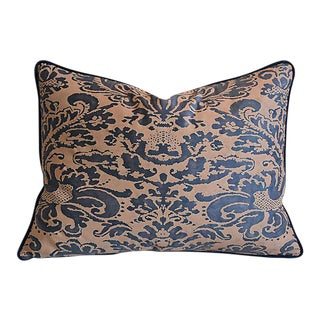 "Tailored Italian Fortuny Corone & Velvet Feather/Down Pillow 24"" x 18"""