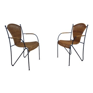 Frederick Weinberg Wicker and Iron Chairs a Pair For Sale