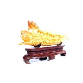 Chinese Antique Lettuce Sculpture on Stand For Sale