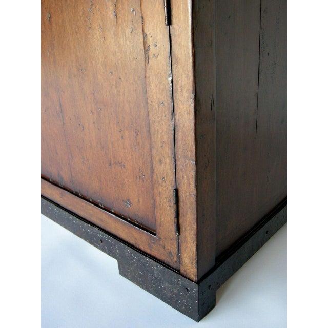 Black Custom Walnut Wood Media Console on Iron Base For Sale - Image 8 of 9