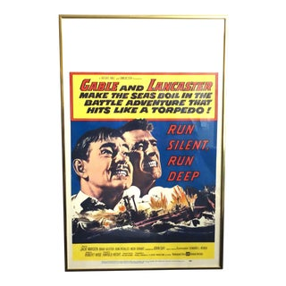 "Movie Poster, 1958, ""Run Silent Run Deep"" With Clark Gable & Burt Lancaster. Framed For Sale"