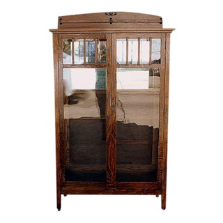 1920's Mission Style Display Cabinet For Sale