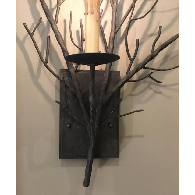 Currey & Co. Organic Modern Iron Branch Wall Sconces Pair For Sale - Image 4 of 6