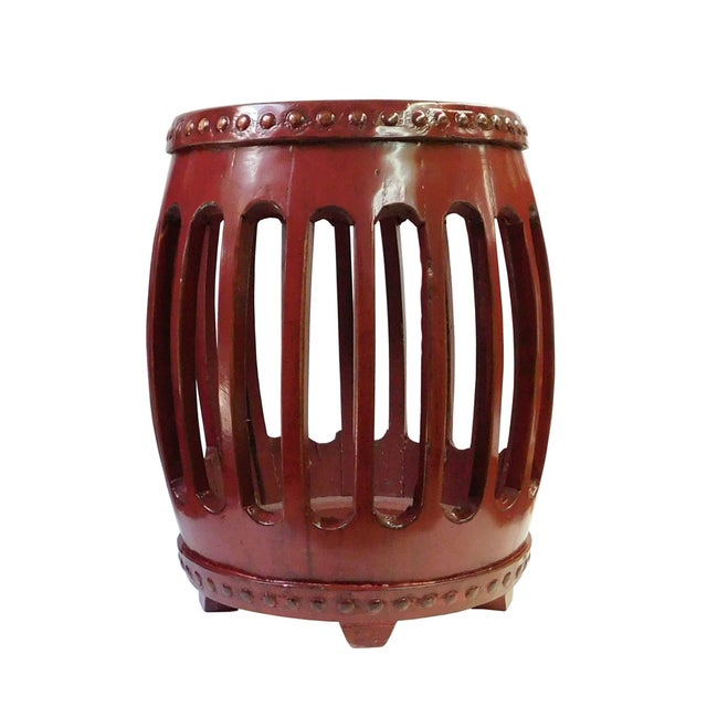 Chinese Red Round Barrel Wood Stools - Pair - Image 1 of 7