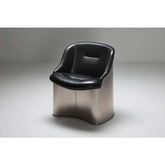 Boris Tabacoff 1970s Boris Tabaccof Leather and Metal Easy Chair For Sale - Image 4 of 9