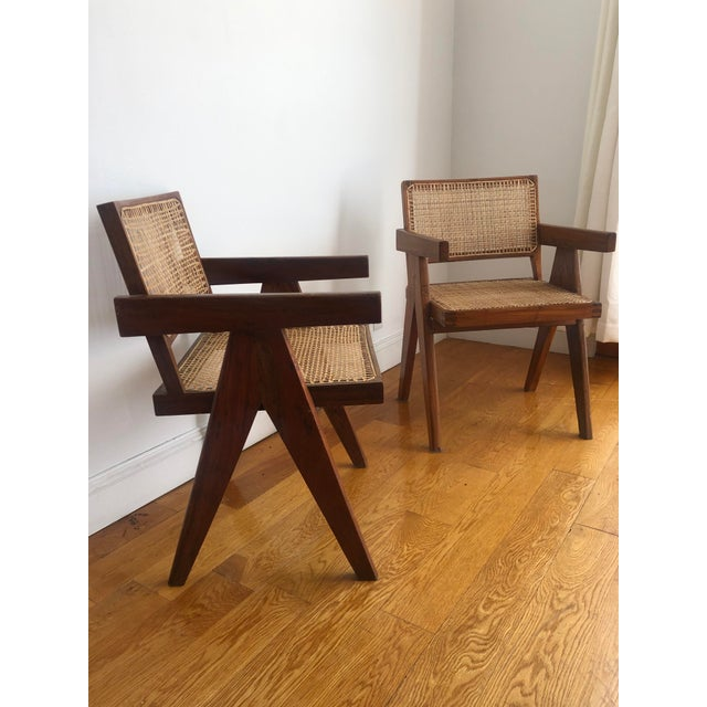 Pierre Jeanneret Caned Armchairs - a Pair For Sale - Image 10 of 11