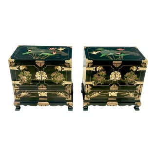 1980s Asian Lacquered and Hand Painted Nightstands - a Pair