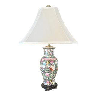 Hand Painted Asian Lamp With Gold Accents - Chinoiserie