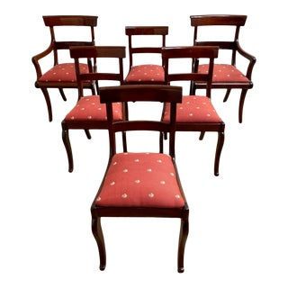 Set of 6 Ladder Back Regency Dining Chairs For Sale