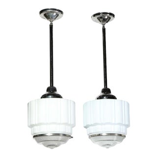 Machine Age Art Deco Skyscraper Milk Glass Pendants with Nickel Fittings - A Pair For Sale