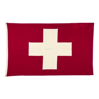 Mid Century Sewn Cotton Swiss Flag For Sale