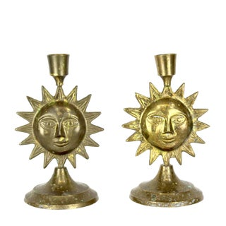 Pair of Brass Sun Candleholders