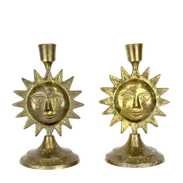 Pair of Brass Sun Candleholders For Sale