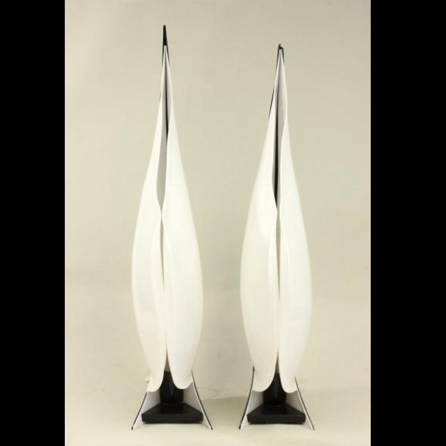 Large Rougier Lucite Sculptural Lamps - a Pair - Image 2 of 10