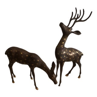 Large Bronze and Gold Spotted Deer Couple - a Pair