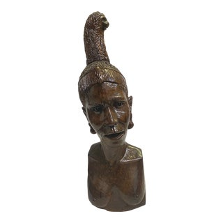 Carved Wood Bust Sculpture of African Woman For Sale