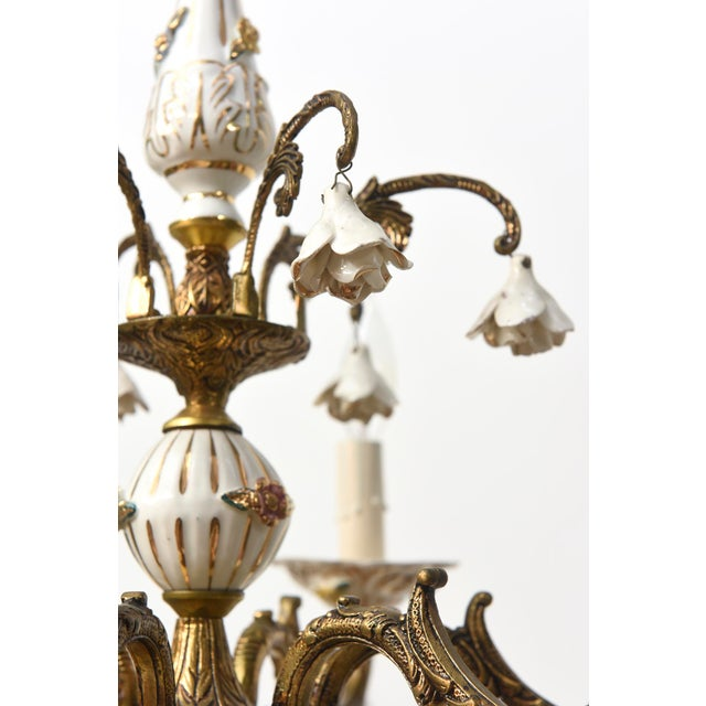 Six Light Italian Porcelain and Brass Chandelier - Image 4 of 4