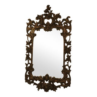 Vintage 1970s French Carved Mirror For Sale
