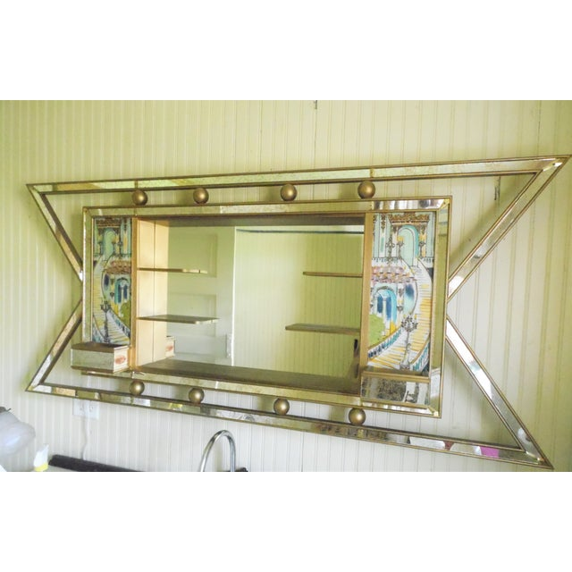 Mid-Century Atomic Lighted Mirror - Image 2 of 7