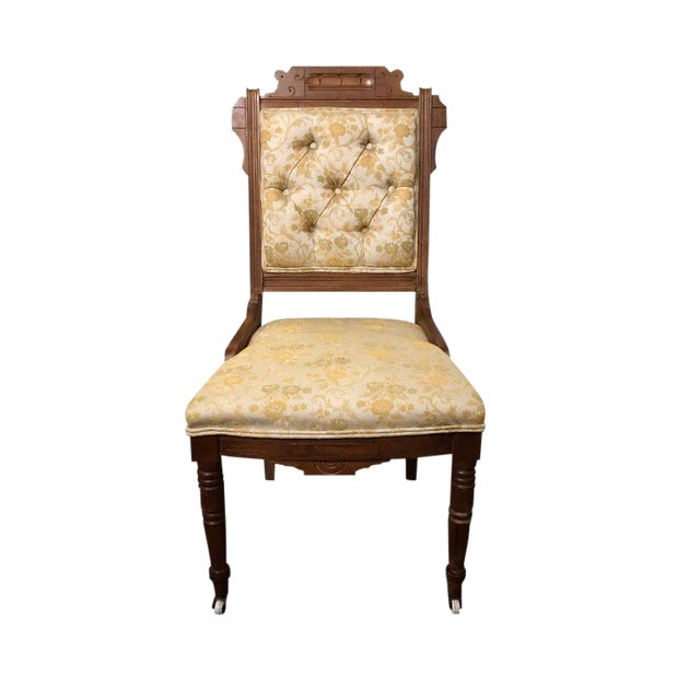 1900s Carved Brocade Upholstered Tufted Side Pagoda Top Chair With Casters in the Style of Eastlake For Sale