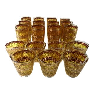 Vintage 1960s Georges Briard Tall Tumblers and Rocks Glasses Barware - Set of 19 For Sale