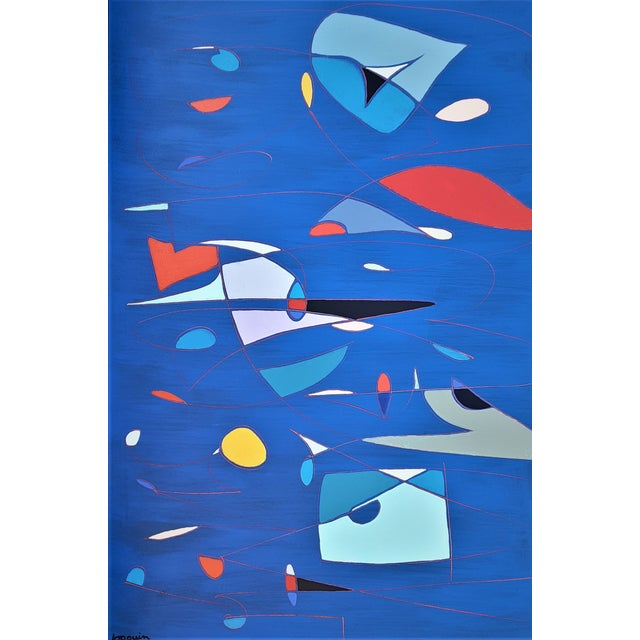 "Artist: Kenneth Joaquin (b. 1948) Title: Lucid Dreams Description: Abstract, acrylic on canvas Dimensions: 48""H x 72""W..."
