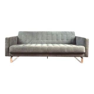 Mid-Century Modern Style Gray Velvet & Chrome Upholstered Sofa