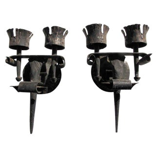 Antique Black Arts & Crafts Wrought Iron Sconces - a Pair For Sale