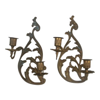 Cast Brass Candleholder Wall Sconces - A Pair For Sale