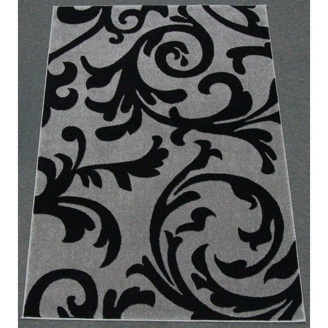 """Transitional Floral Gray & Black Rug - 5'3"""" x 7'7"""" - Image 2 of 6"""