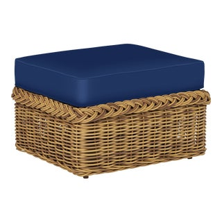 Wicker Works Classic Ottoman in Pacific Blue For Sale