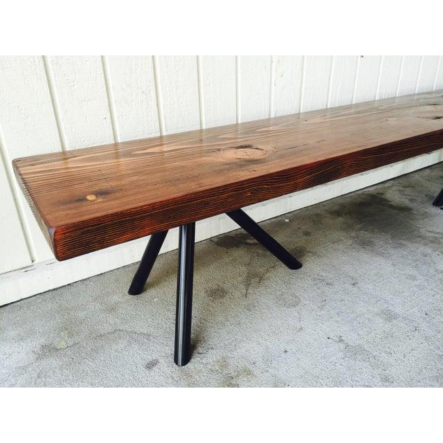 Reclaimed Wood & Industrial Steel Bench - Image 4 of 5