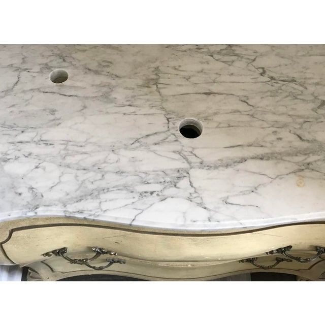 French Provincial 19th Century Italian Provincial Carrera Marble Custom Bathroom Vanity For Sale - Image 3 of 7