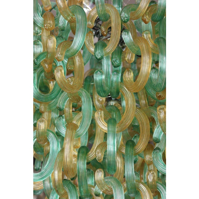 "Mid-Century Modern Murano Glass Green and Gold ""C"" Link Chandelier For Sale - Image 3 of 9"