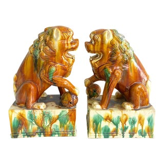 Vintage Pair of Chinoiserie Style Gold, Green and Yellow Foo Dog Figures