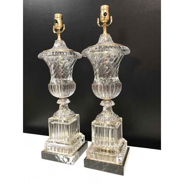 Bronze Baccarat Style Paul Hanson Hollywood Regency Glass Crystal Bronze Spiral Urn Table Lamps on Marble Base - a Pair For Sale - Image 8 of 11