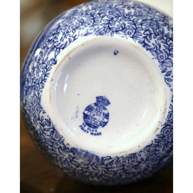 Early 20th Century English Blue and White Painted Faience Delft Vases - a Pair For Sale - Image 9 of 11