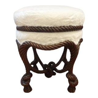 Antique French Louis XVI Style Fournier Style Knotted Rope and Tassel Ottoman For Sale