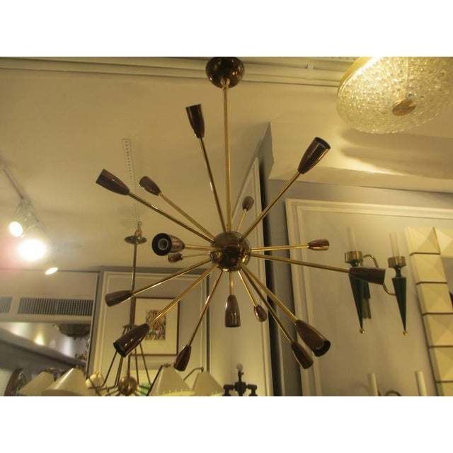 Custom Brass and Copper Sputnik Chandelier with 14 Arms For Sale - Image 4 of 7