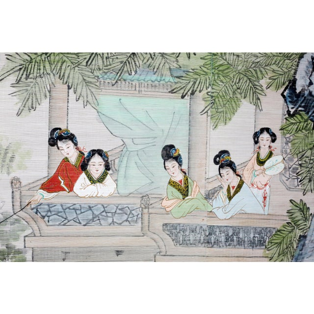 Green Large Painting of Asian Ladies in a Pagoda and Lake Scene For Sale - Image 8 of 13