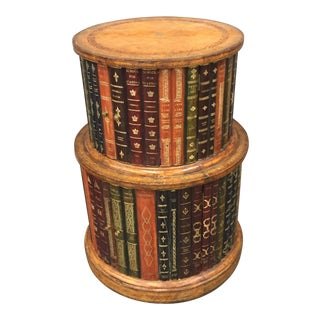 Embossed Leather Book Side Table