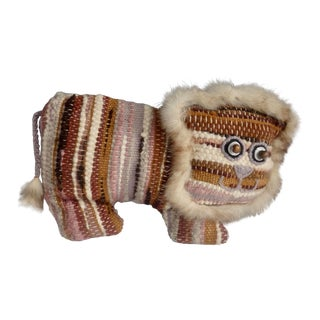 Boho Chic Stuffed Woven Lion Pillow With Fur Trim For Sale