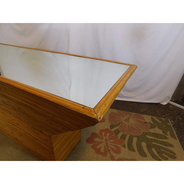Vintage Mid-Century Split Reed Mirror Top Console Table - Image 8 of 10