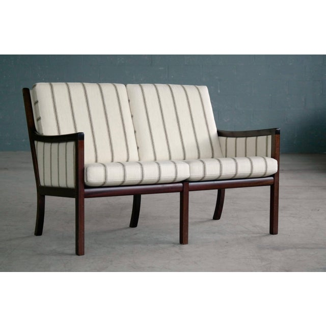 Danish Midcentury Mahogany Settee or Loveseat by Ole Wanscher for Poul Jeppesen For Sale - Image 10 of 10