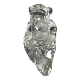Saint-Louis Crystal Chimpanzee Mom and Baby Figurine For Sale