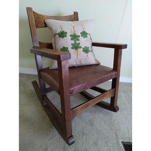 Limbert rocker 8074 with the original finish and seat. This has great figure and while it has some wear that is...