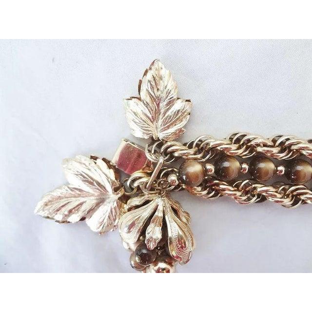 Plastic 1950s Napier Brown Moonglow Grape Charm Bracelet For Sale - Image 7 of 9
