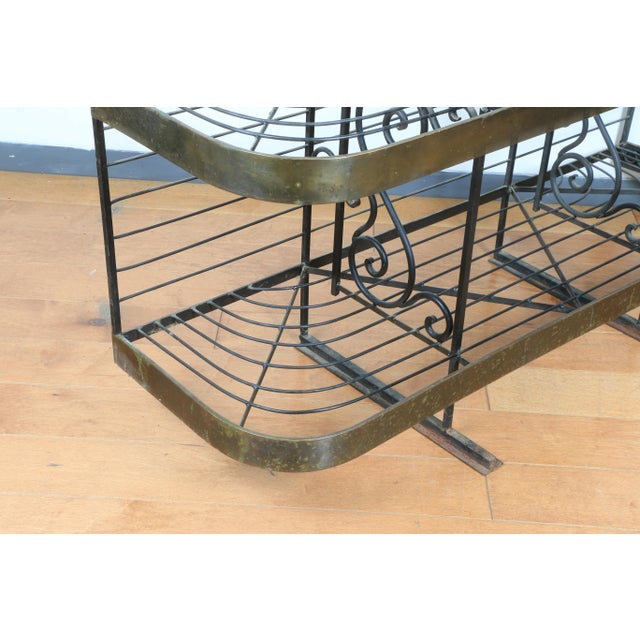 Brass Wrought Iron and Brass Bakers Rack For Sale - Image 8 of 10