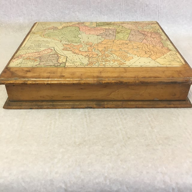 Traditional Vintage Wooden Drawer With Map For Sale - Image 3 of 9